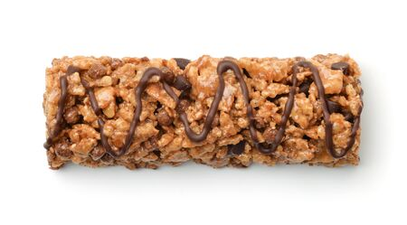 Top view of chocolate granola bar isolated on white