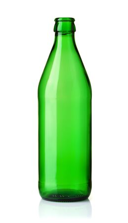 Front view of empty glass green bottle  isolated on white Imagens