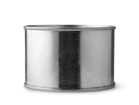 Front view of old tin can isolated on a white Stock fotó