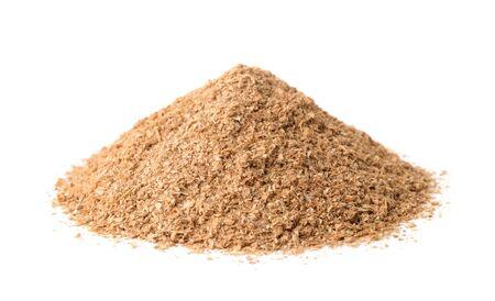 Pile of wheat bran isolated on white Stok Fotoğraf