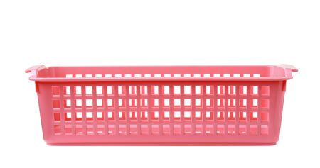 Front view of pink rectangular plastic storage basket isolated on white