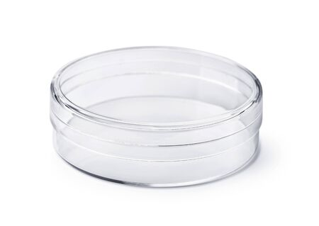 Empty transparent round plastic container  isolated on white