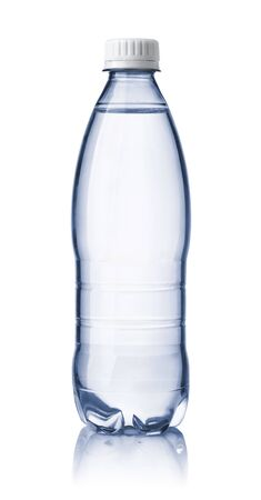 Front view of small clear water bottle isolated on white