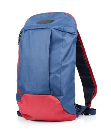 Kleiner blauer Rucksack isoliert auf weiß Standard-Bild