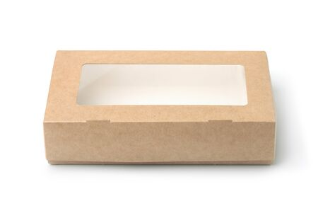 Front view of kraft paper box with transparent window isolated on white Imagens