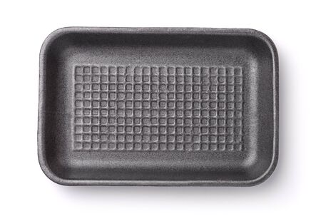 Top view of empty foam food tray isolated on white