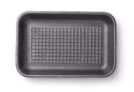 Vista superior de la bandeja de comida de espuma vacía aislada en blanco Foto de archivo
