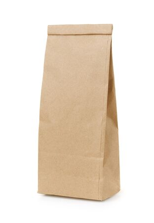 Blank brown craft paper bag isolated on white