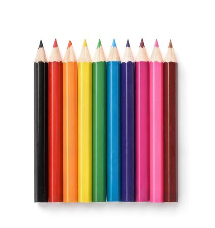 Row of colorful pencils isolated on white 스톡 콘텐츠