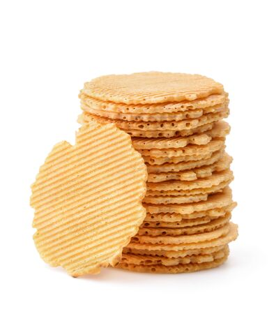 Stack of round wheat crispbreads isolated on white 版權商用圖片