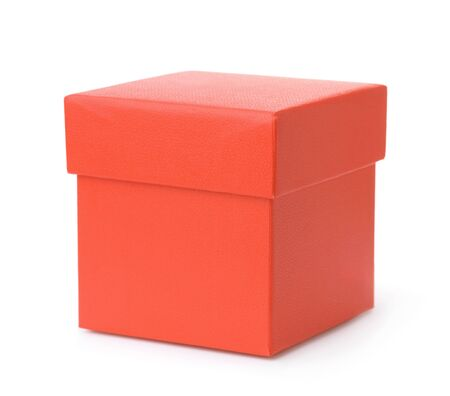 Blank red gift box isolated on white Stock Photo