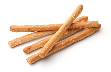 Fresh baked Italian grissini breadsticks isolated on white