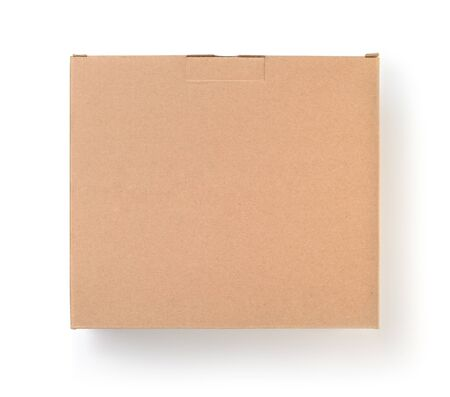 Top view of cardboard blank brown box isolated on white Stock Photo