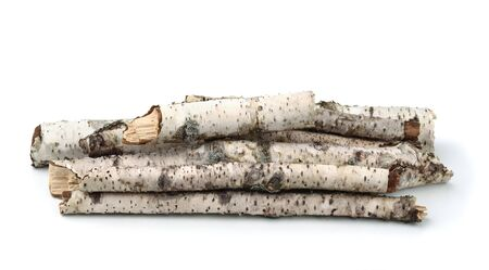 Pile of birch twigs isolated on white Stock Photo