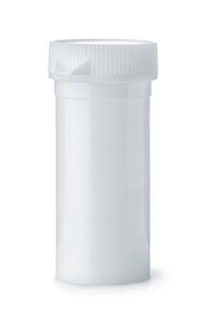 White plastic medical tablet tube isolated on white Imagens