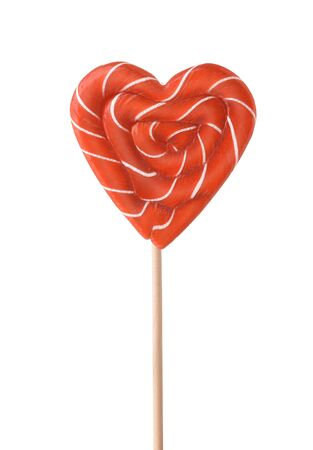 Front view of red striped heart lollipop candy isolated on white