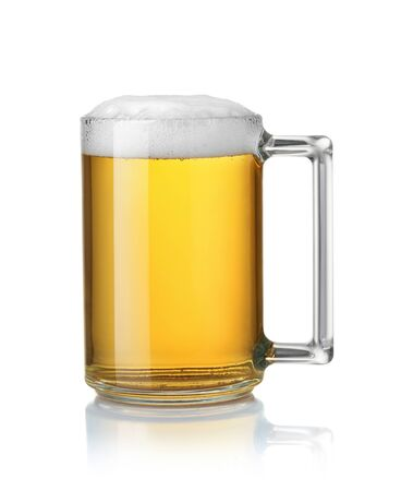 Side view of glass mug full of beer isolated on white