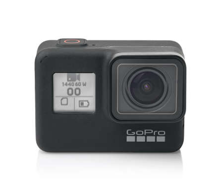 Samara, Russia - March 2020: Front view of new GoPro Hero 7 Black Edition action camera