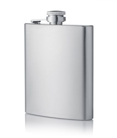 Stainless steel hip flask isolated on white Stok Fotoğraf