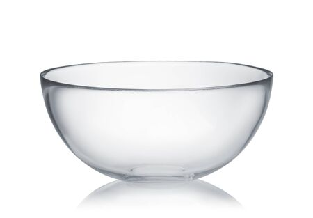 Front view of empty glass mixing bowl isolated on white