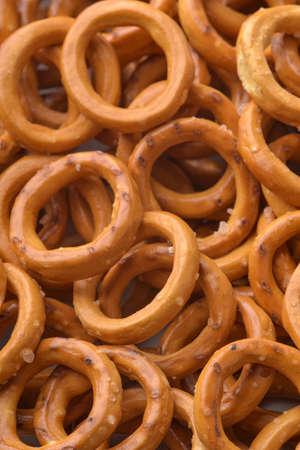 Background of  salty crispbread wheat mini rings Imagens
