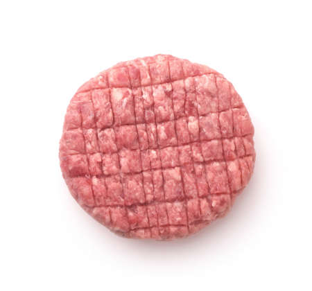 Top view of fresh raw burger patty isolated on white 版權商用圖片