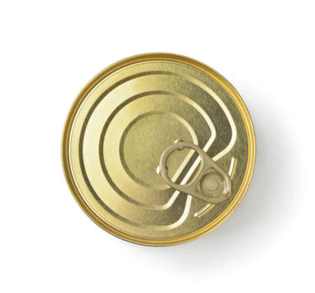 Top view of golden ring pull tin can isolated on white Imagens