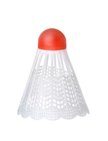 White plastic badminton shuttlecock isolated on white Imagens