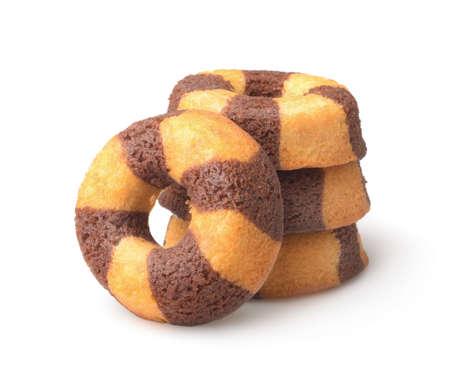 Stack of chocolate banana sponge cakes isolated on white