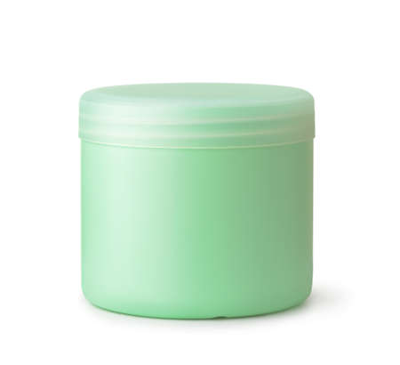 Front view of green blank cosmetic jar isolated on white Banco de Imagens