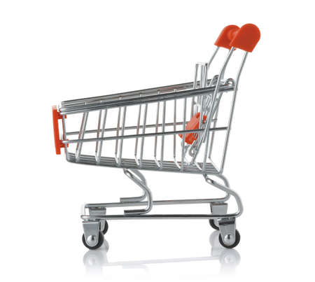 Side view of empty toy shopping trolley cart isolated on white