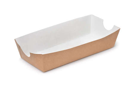 Empty paper hot dog tray isolated on white
