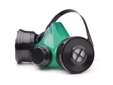 Reusable industrial respirator mask isolated on white