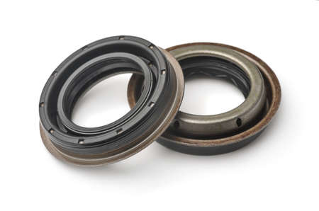Pair of car oil seal isolated on white Stock Photo