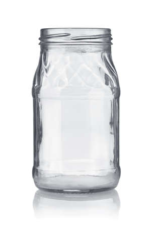 Front view of empty transparent glass jar isolated on white Stock Photo