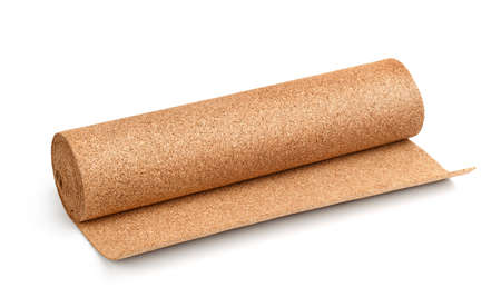 Natural cork flooring underlayment roll isolated on white Stock Photo