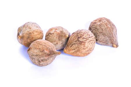 myrobalan: Terminalia bellirica dry fruit Stock Photo