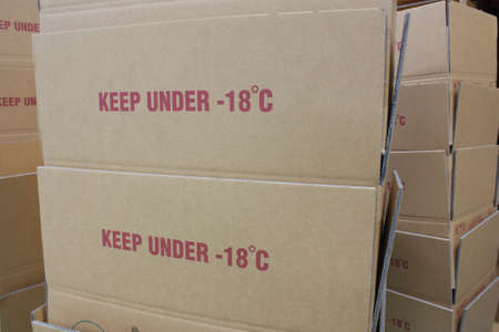 food industry: Paper box with text keep under -18 for frozen food industry Stock Photo