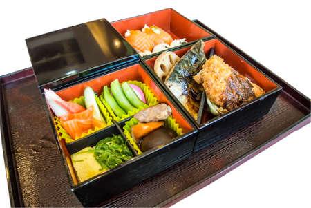 bento: japanese bento set on tray Stock Photo