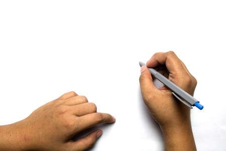 lapiz y papel: Escritura de la mano con un lápiz sobre fondo blanco perfecto para añadir texto o imagen Foto de archivo