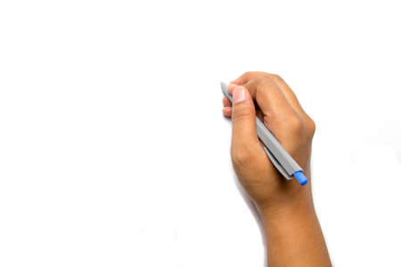 add text: hand writing with a pen on white background perfectly to add text or picture Stock Photo