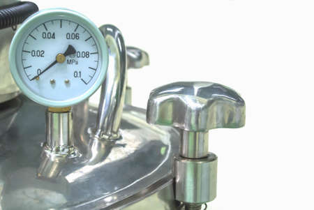 food factory: pressure gauge on mixing tank for food factory Stock Photo