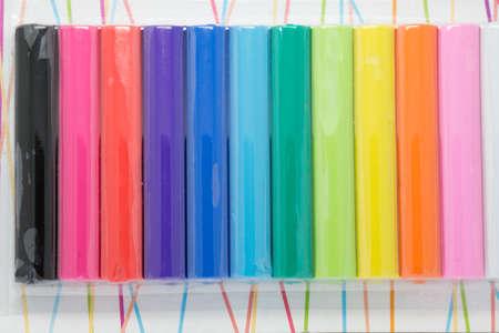 plasticine: colorfull plasticine new in package Stock Photo
