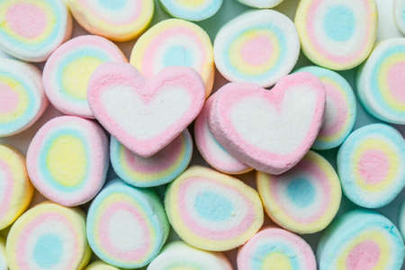 marshmellow: sweet heart shape of marshmallows on colorful marshmellow background,decoration for love and valentine day concept