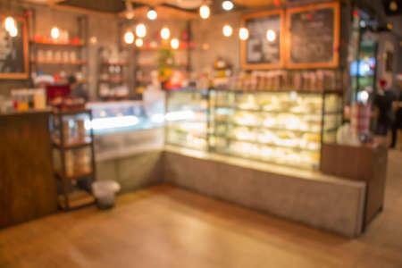 café y panadería tienda de desenfoque de fondo
