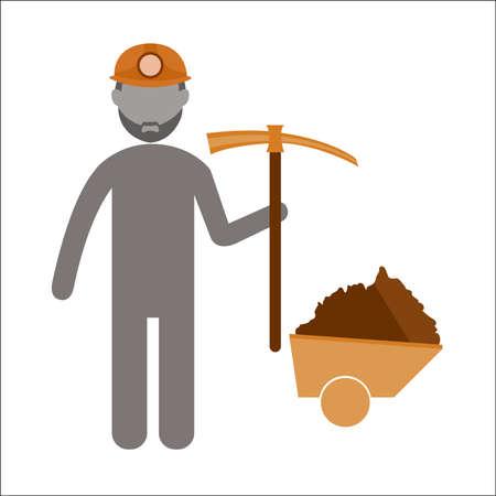 the miners: Miners technician career  Flat icon vector Design.vector illustrato