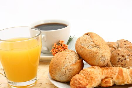 Breakfast with orange juice, coffee and backery Stock Photo - 9982628