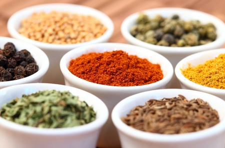 variety of spices on pots Stock Photo - 16442283