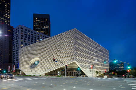 The Broad, a contemporary art museum in Los Angeles at twilight Editorial