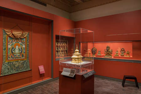 SAN FRANCISCO, CA - DECEMBER 6, 2015: The Asian Art Museum of San Francisco houses one of the most comprehensive Asian art collections in the world, with more than 18,000 works of art in its permanent collection, some as much as 6,000 years old.